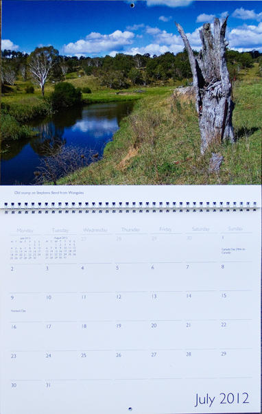 Prety scene at Stephens Bend on Commissioners Creek on calendar