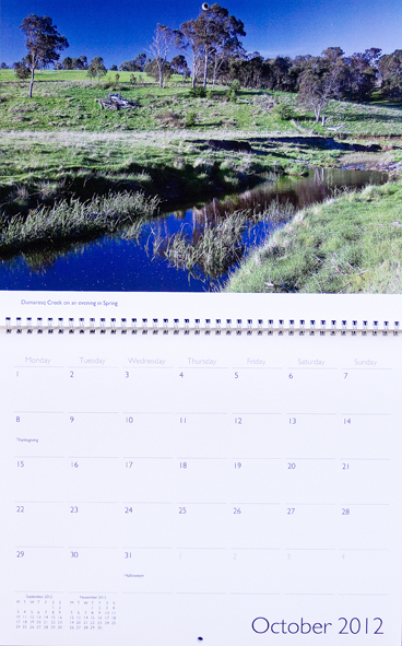 Dumaresq Creek in evening light in spring on calendar